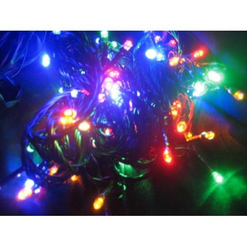 12M 100 LED Christmas Fairy Light Multi Colour (green cable)