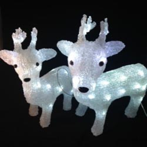 3D Acrylic Reindeer 2Pcs - 42CM. And 34CM. High with 64 LED Lights