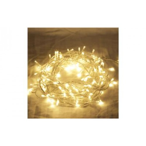 13M 100 LED Christmas Fairy Lights - Warm White (Clear cable)