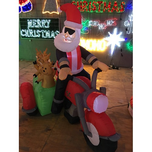 180CM LED Inflatable Bikie Santa