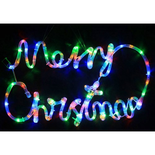 Animated 56CM LED 'Merry Christmas' Sign - Multi Colour