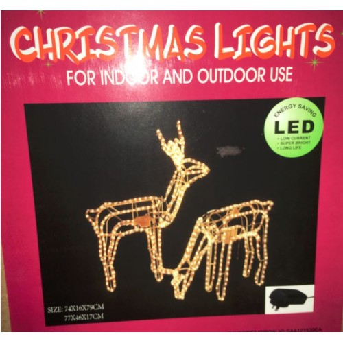 3D Deer Family Set of 2 Animated LED Warm White Christmas Motif Rope Lights