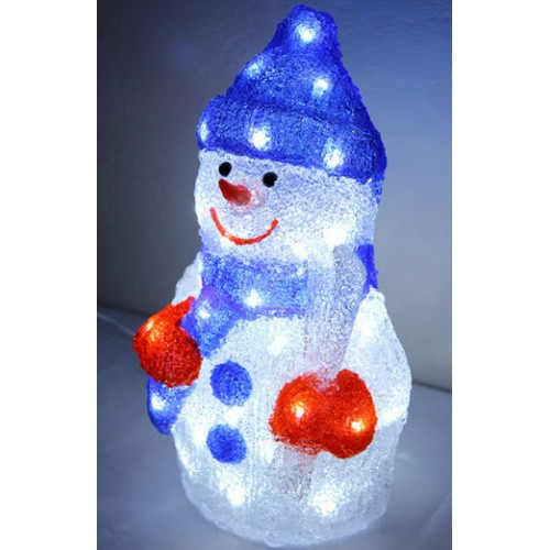 3D Acrylic Snowman - 38CM High with 48 LED Lights