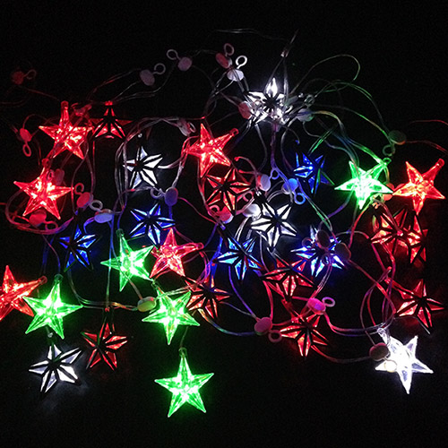 32LED Star Christmas Icicle Lights - Multi colour