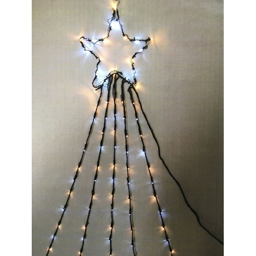 Top Star with Waterfall Lights - White & Warm White - Green Cable