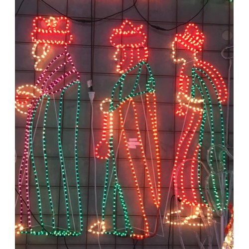 Three Wise Men Giving Gifts Nativity Christmas Motif Rope Lights