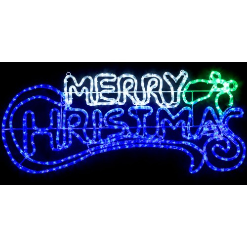 12M LED MERRY CHRISTMAS Sign Blue And White