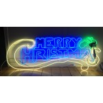MERRY CHRISTMAS  BLUE WHITE AND GREEN Neon (145cm)